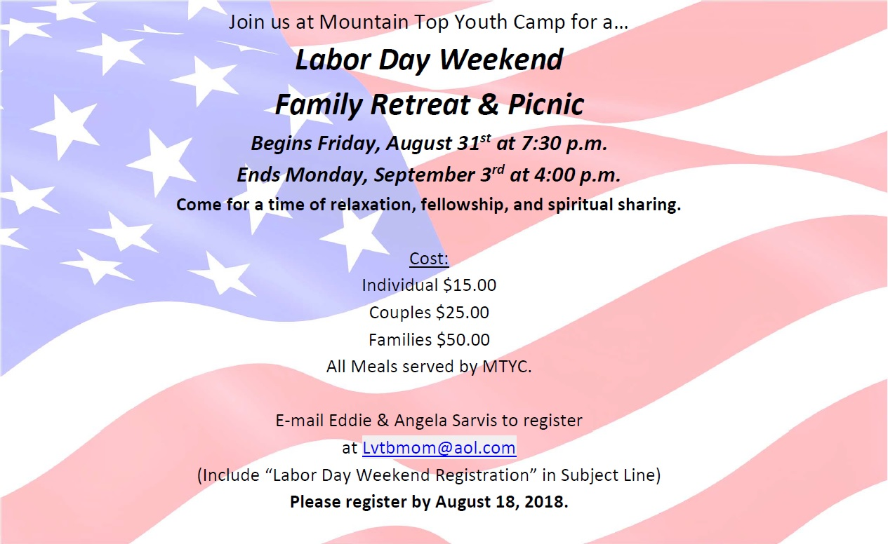 2018 Labor Day Weekend Family Retreat & Picnic | Mountain